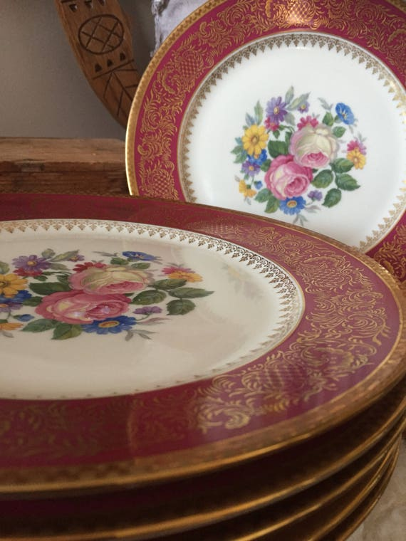 Set of 6/Rosenthal/Thomas/Continental/dinner plate /plates/set of 6/Hollywood Regency/floral/burgundy/gold detail chinoiserie