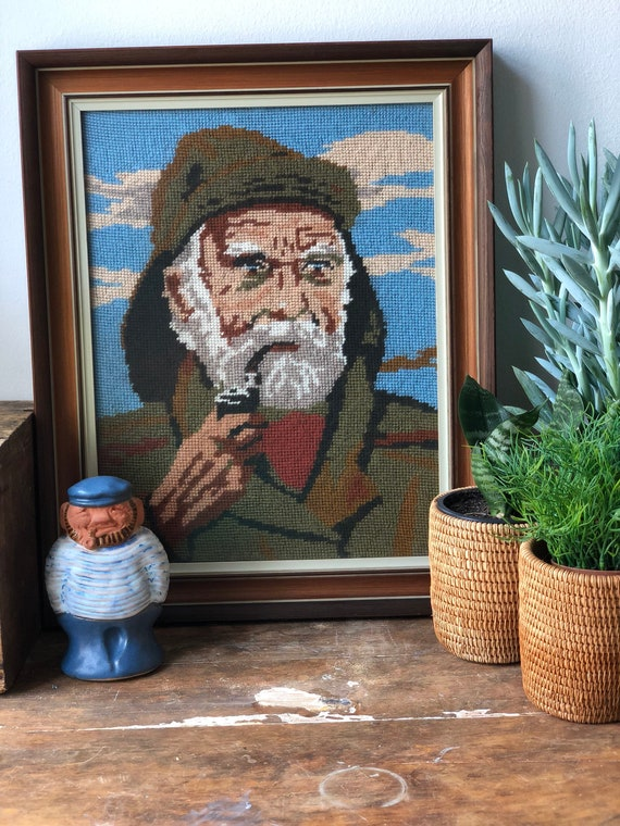 Old Salty Fisherman with pipe framed needlepoint vibrant colors / handmade excellent condition 1970s man with pipe