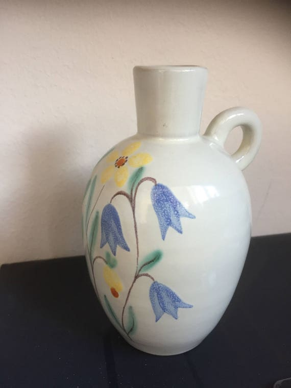 Anna-Lisa Thomson 1940s Upsala Ekeby ceramic candle Scandinavian art pottery Vintage Swedish home decor Art Deco candlestick holder pair
