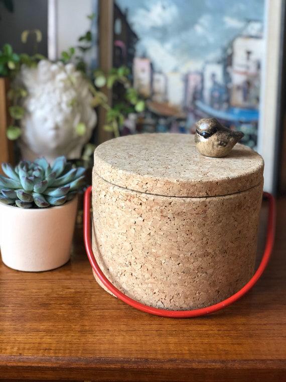 Swedish Cork ice bucket made in Sweden Scandinavian design scandi boho with stainless steel