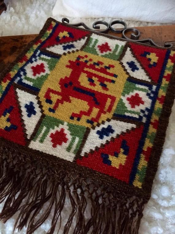 Handwoven/kilim/wallhanging/deer/reindeer/folk art/traditional/Flemish/slow art/flamsk/native art/Scandinavian/nordic