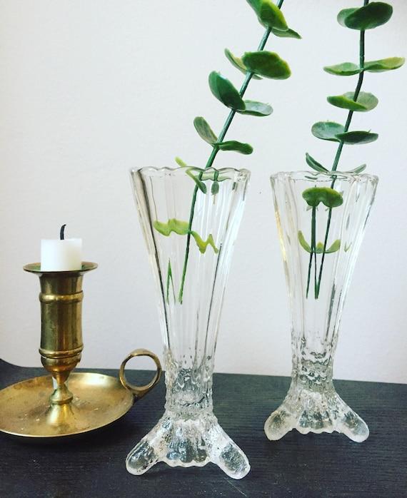 Swedish/glass/bud vases/victorian/hollywood regency style /swedish glass//scandinavian/swedish glass