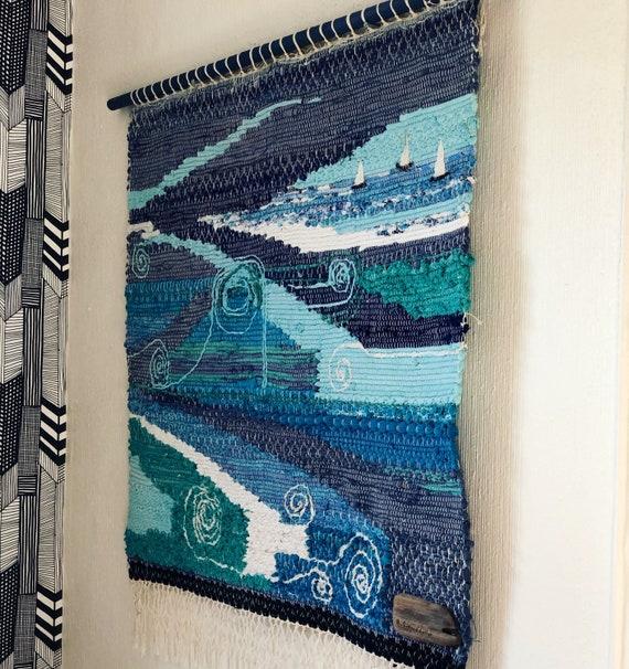 Original Scandinavian rag rug woven textil art wall hanging tapestry nordic design /Swedish weaving Nordic fiber art
