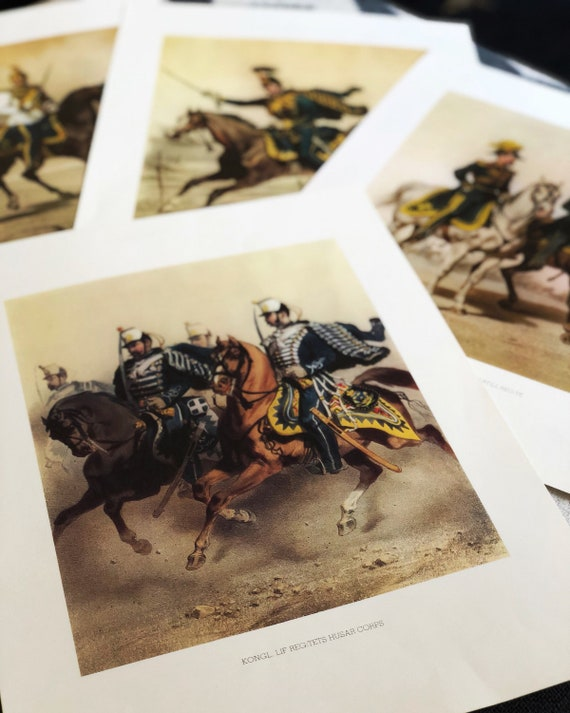 Vintage Swedish Royal Military prints / Carl XV / Royal Regiment / Horses / Swedish King Carl XV