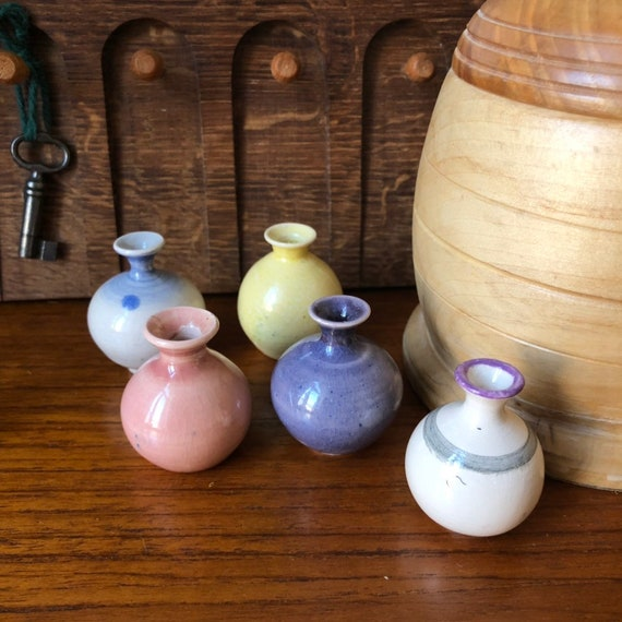 Miniature hand turned vases pastel glazed / ceramic from local potter in southern Sweden
