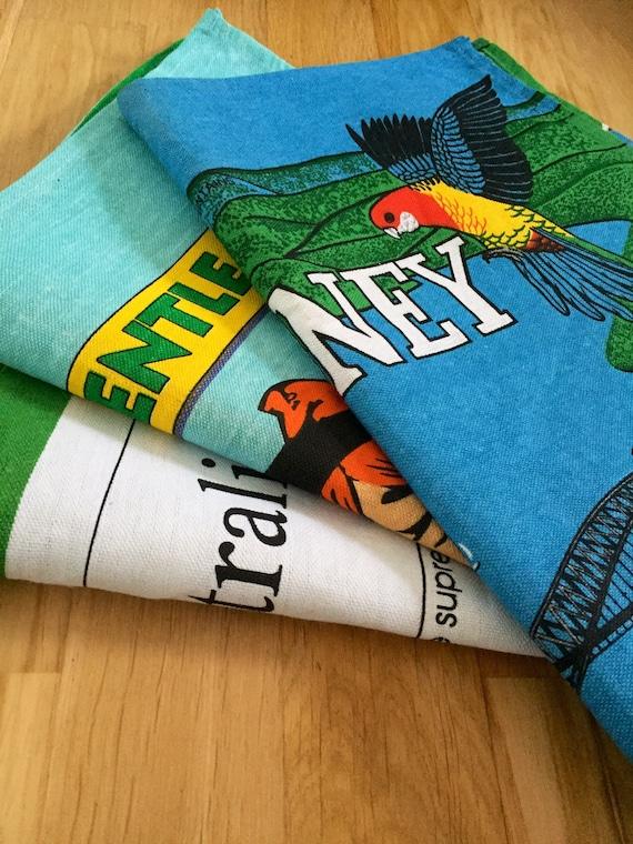 Set of 3 /vintage /colorful / souvenir / Australian /tea towels /mint condition /quirky/humorous