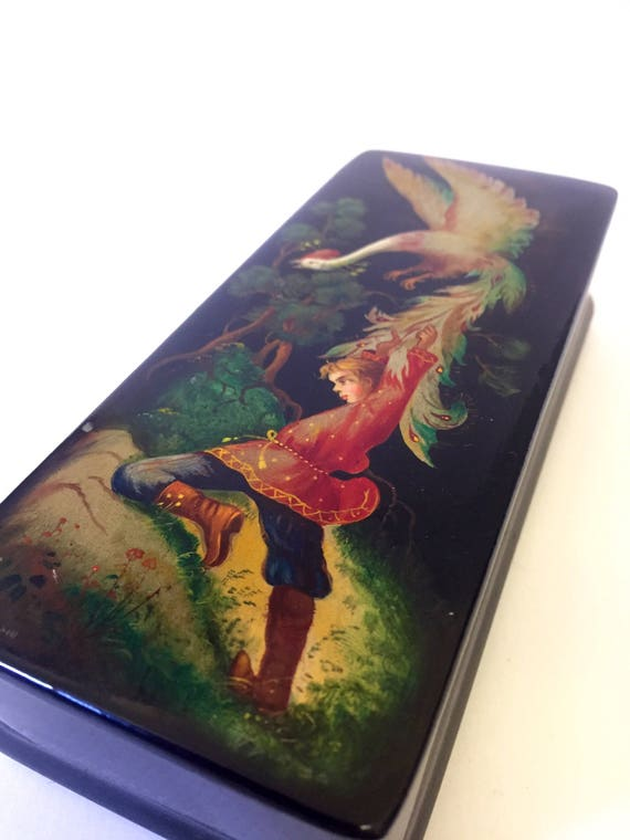 Victorian fairy tale fine hand painted signed lacquered wooden jewelry box 1920s keepsake box  golden goose /chinoiserie