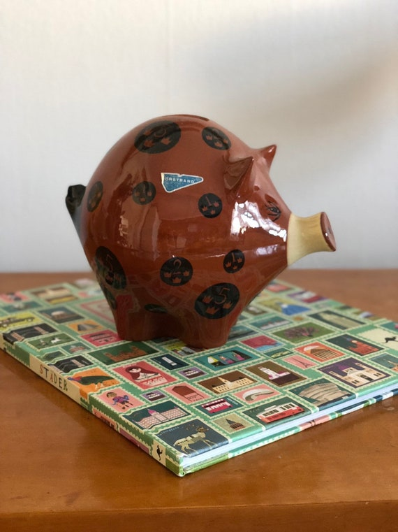 Rörstrand piggy bank ceramic pet Scandinavian boho style collectable Swedish Scandi boho