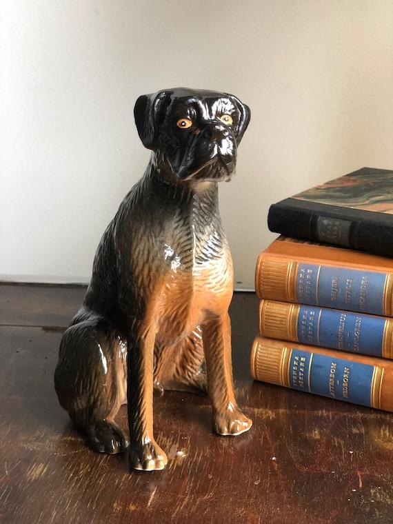 Vintage ceramic Pitt Bull dog porcelain dog figurine excellent vintage condition