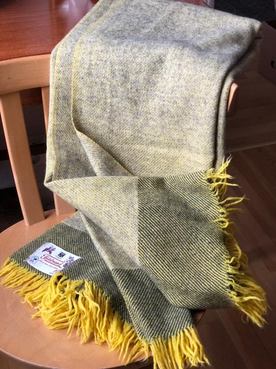 Wool throw blanket yellow grey green tones wool blanket throws vintage retro design made in Sweden virgin wool by Tidstrand