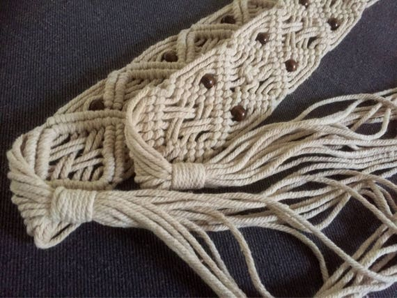 Vintage/macrame/belt/unbleached/ natural /cotton macrame/beaded/boho/belt/hippie chic/ 3 lengths available