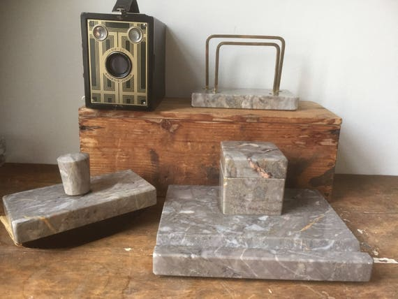 Art Deco Inkwell set/Marble/ Scandinavian/ pen rest/ inkwell/ blotter/ letter holder/hollywood regency/ Art nouveau