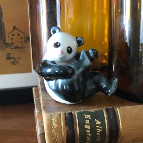 Adorable vintage  pottery ceramic panda figure boho panda figurine