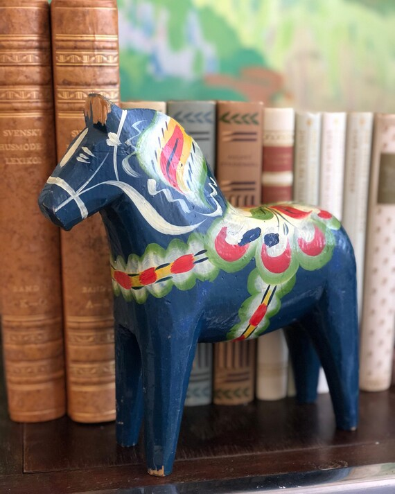 XL Vintage blue Dala horse Dalahäst from Dalarna Sweden handpainted