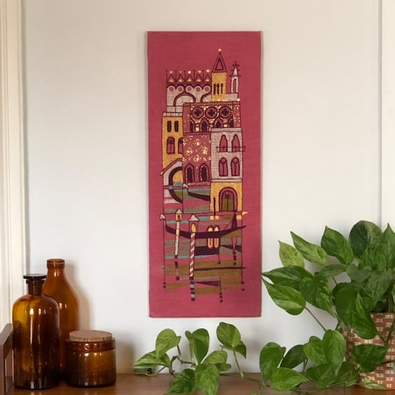 Scandinavian crewel on pink linen wall hanging princess fairytale castle retro wall hanging
