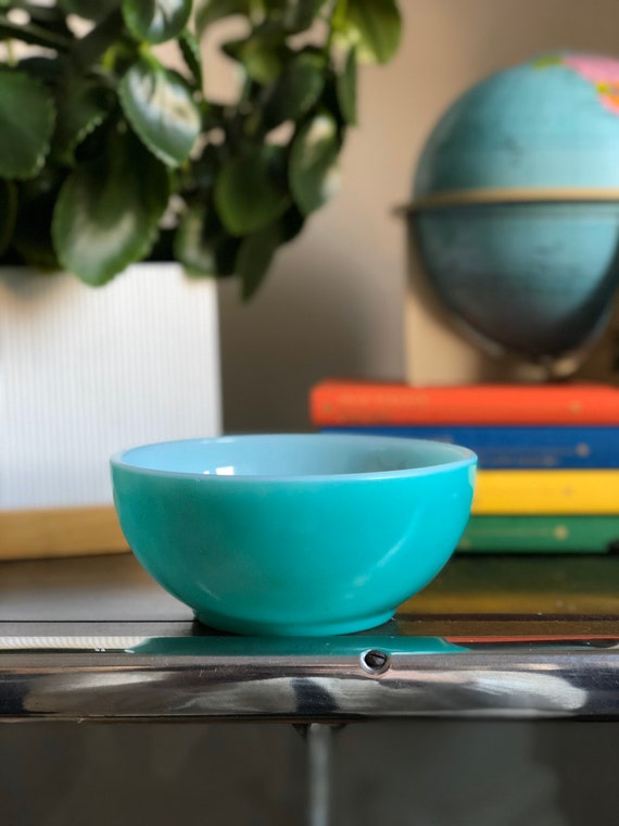Fire king mixing bowl # 28  midcentury vintage glass bowl turquoise