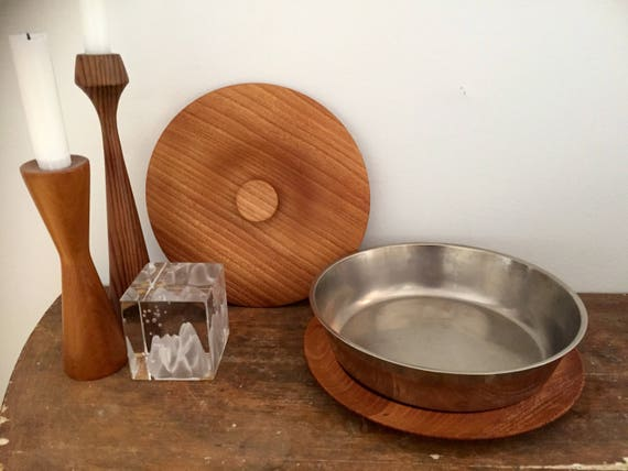 Swedish /hand turned/midcentury modern /wooden lid and plate/stainless steel bowl/midmod/handcrafted/Scandinavian /swedish