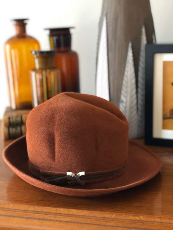 Vintage Orli felt rust and brown hat with silver clasp hat bowler formal cosplay