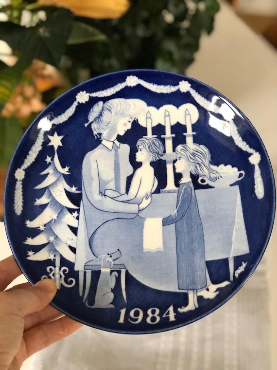 Gustavsberg stig Lindberg Scandinavian collectable CHRISTMAS PLATES 1984 1985 lovely Christmas scene Limited editionn