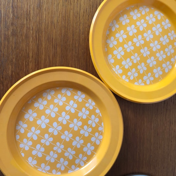 Gustavsberg melamine yellow plates mid century modern fyrklover series mah jong group