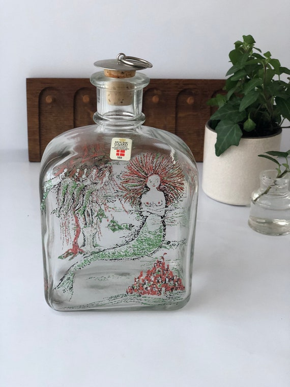 Danish Holmegaard The little mermaid from H.C Andersen Christmas series / snaps decanter bottle 1986 hand painted