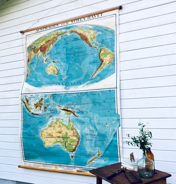 Large Vintage Swedish 1948 classroom school house Map of Australia and the Pacific Ocean printed in Stockholm