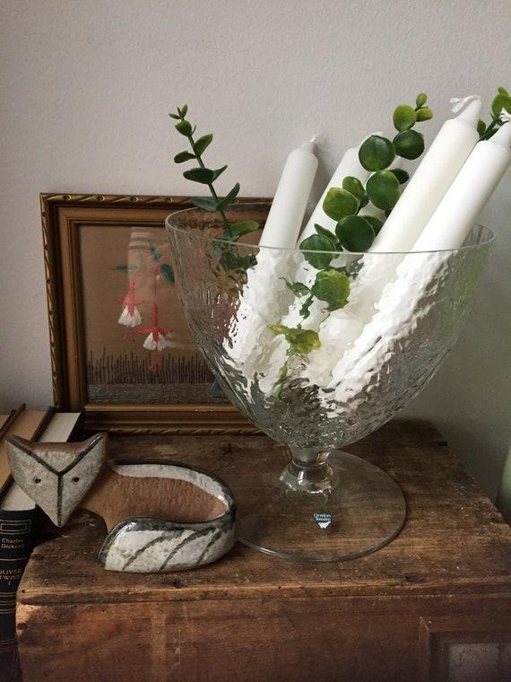 Vintage/Orrefors/XL pedestal bowl/bowl/handblown/crystal/stunning/ Vase/ Lars Hellsten