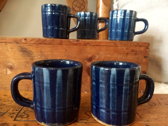 Older/ Danish/Almus/small/coffee cups/espresso/tea/mulled wine cups /set of 5/vintage/scandinavian modern/blue/white drip glaze/1930s