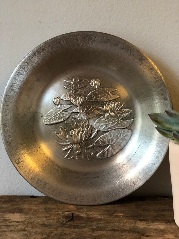 Water Lillies pewter art wall hanging Scandinavian Swedish mid century scandi boho