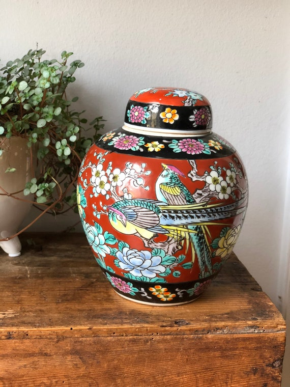 Vintage Japanese ginger jar with floral pattern and bird style Asian urn pottery jar lidded canister pot with lid signed chinoiserie