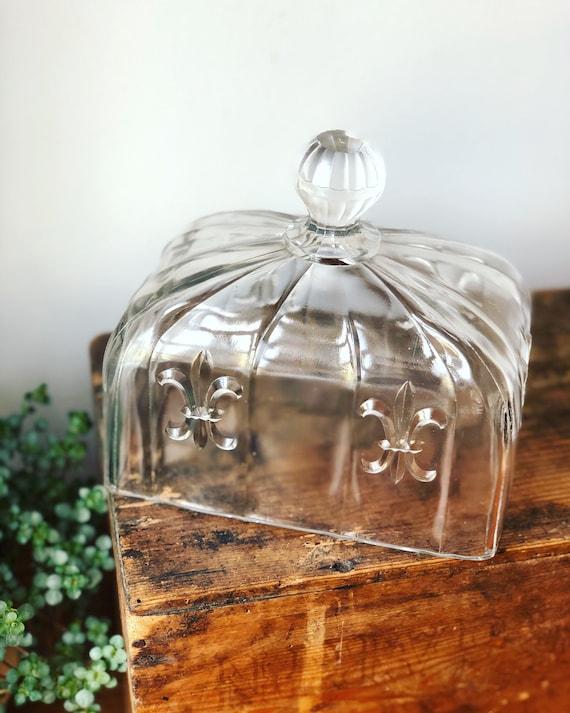 Vintage French glass dome pressed glass Victorian fleur de lis pattern kitchen decor