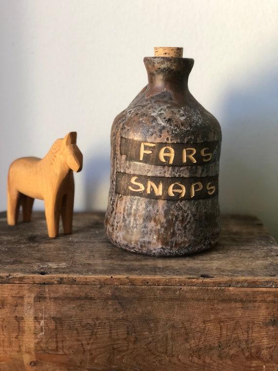 Fars Snaps Swedish Studio pottery moonshine jug with cork Scandinavian hygge jul midsummer