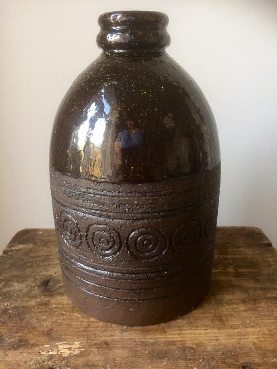 Inger Persson rörstrand large vase salt glaze signed 1960s Swedish