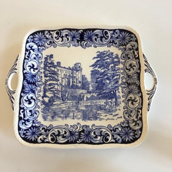 Victorian teatime plate Crown Derby 1920s derby / art nouveau handles Warwick castle