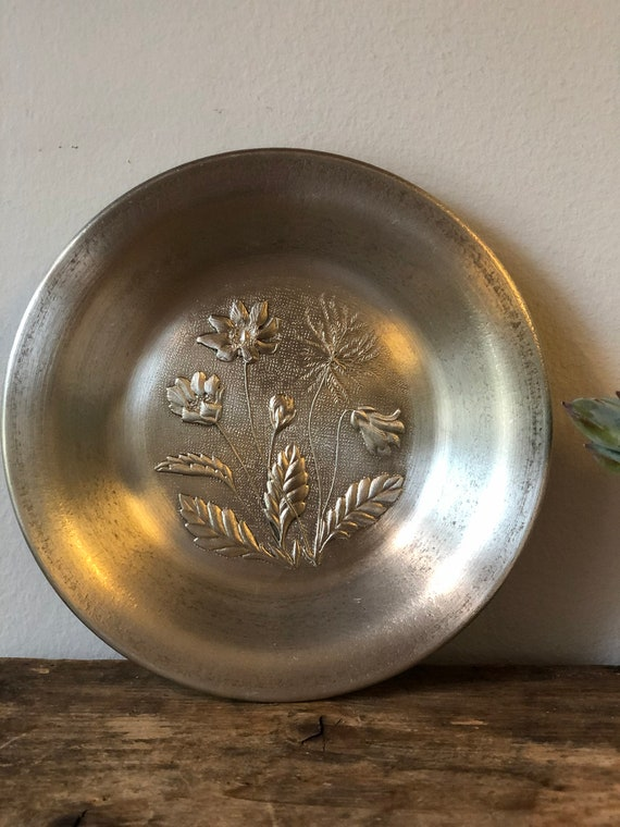 Pewter flower art wall hanging Scandinavian Swedish mid century scandi boho