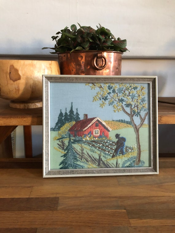 Tradition Swedish folk art crewel embroidered wall hanging landscape mited colors farmhouse framed