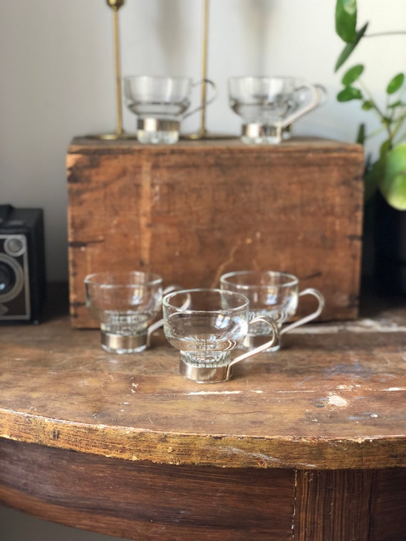 Set of 6 scandinavian hot beverage glasses glögg mulled wine  / espresso Scandinavian design silver handles  1970s/hot drink glasses