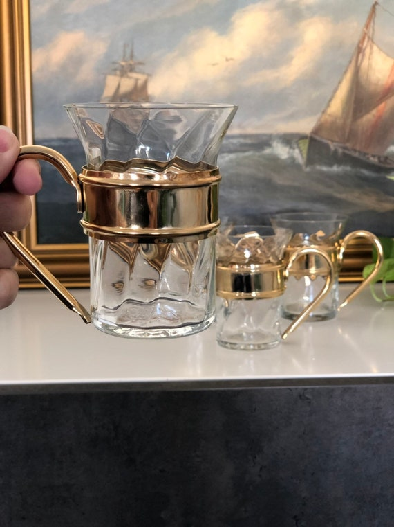 Set of 4 Scandinavian hot beverage glasses glögg mulled wine  / espresso Scandinavian design gold handles  1980s hot drink glasses
