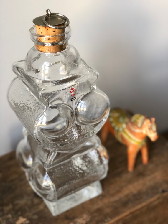 Lars Hellsten Skruf owl decanter midmod Scandinavian glass