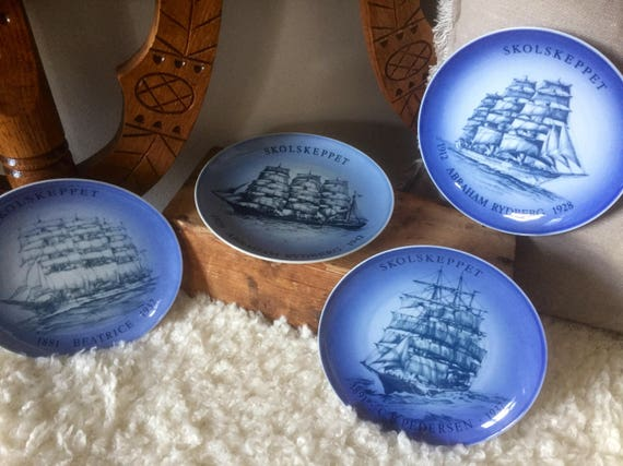 Royal Copenhagen Bing and Grondahl Danish commemorative marine plates 1977, 1979, 1982, and 1985 / Denmark Scandinavian design ship vessel