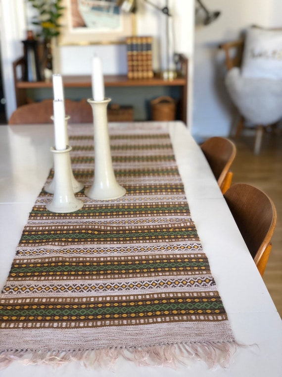 Long Retro Table Runner Swedish folk art linen traditional pattern tablecloth boho/tablescape