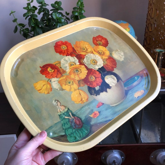 Vintage English metal tray Floral Flowers serving tray Made in England haute bohemian style
