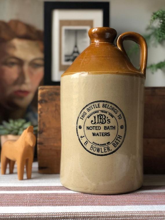 XL vintage stoneware spa bottle by JB Bowler bath decor jug ceramic earthenware made in England