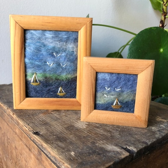 Pair of small vintage Swedish needle felted framed sea scapes birds made with Swedish wool Scandinavian framed art vibrant colors Sweden