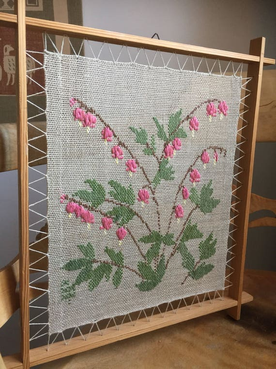 Scandinavian embroidered woven tapestry wall hanging in a suspended framed / Swedish embroidered tapestry/ 1970s