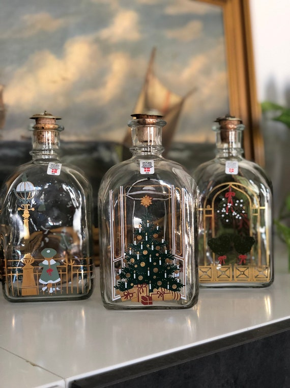 Set of 3 Holmegaard Christmas snaps decanter bottles Danish hand painted