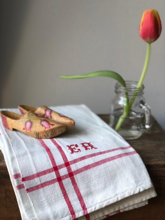 Pair of Vintage woven Scandinavian hand towels kitchen towels monogramed EH red and white farmhouse kitchen