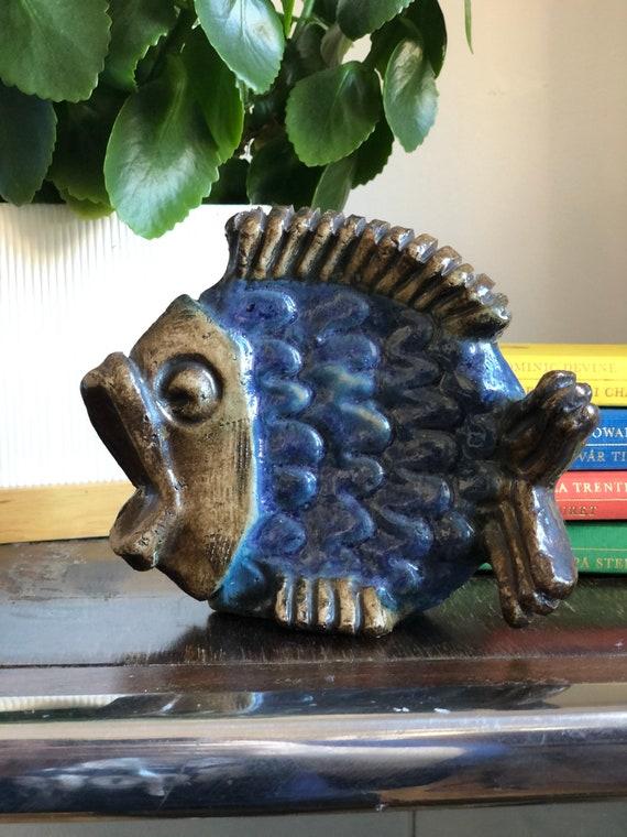 Ceramic fish by Willy Fischer Ego Keramik boho outdoor space modern ceramic art figurine Scandinavian Swedish