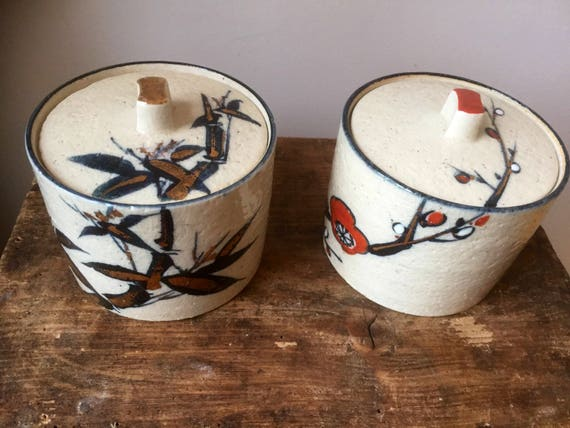 Vintage/Japanese/ceramic/pots/lids/hand painted/gold plated/studio pottery/Japan chinoiserie/ ginger jar