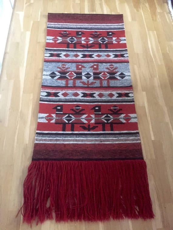 Large folk art kilim Scandinavia wool hand woven wall hanging tapestry nordic design kilim boho chic native ethnic scandi boho nomadic